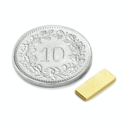 Q-10-04-01-G Blokmagneet 10 x 4 x 1 mm, neodymium, N50, verguld