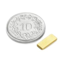 Q-10-04-01-G Blokmagneet 10 x 4 x 1 mm, houdt ca. 580 gr, neodymium, N50, verguld