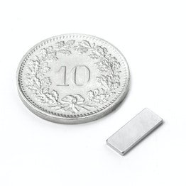 Q-10-04-01-N Block magnet 10 x 4 x 1 mm, neodymium, N50, nickel-plated