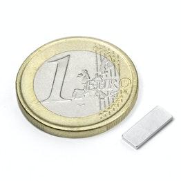Q-10-04-01-N Parallélépipède magnétique 10 x 4 x 1 mm, néodyme, N50, nickelé