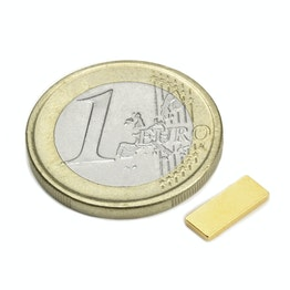 Q-10-04-1.2-G Parallelepipedo magnetico 10 x 4 x 1,2 mm, tiene ca. 700 g, neodimio, N50, dorato
