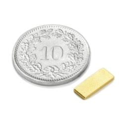Q-10-04-1.2-G Blokmagneet 10 x 4 x 1.2 mm, neodymium, N50, verguld