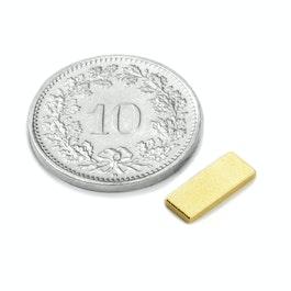 Q-10-04-1.2-G Block magnet 10 x 4 x 1.2 mm, neodymium, N50, gold-plated