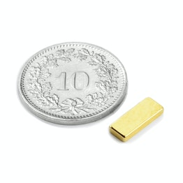 Q-10-04-1.5-G Blokmagneet 10 x 4 x 1.5 mm, neodymium, N50, verguld