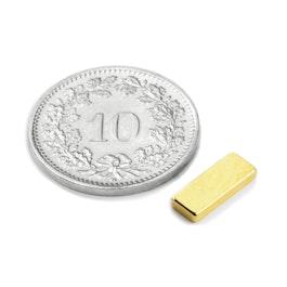 Q-10-04-1.5-G Parallélépipède magnétique 10 x 4 x 1.5 mm, néodyme, N50, doré