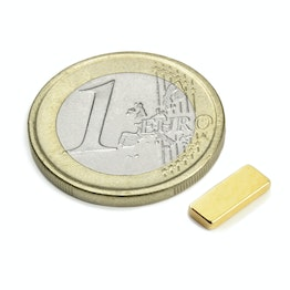 Q-10-04-1.5-G Block magnet 10 x 4 x 1,5 mm, holds approx. 900 g, neodymium, N50, gold-plated