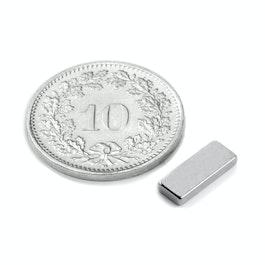 Q-10-04-1.5-N Parallelepipedo magnetico 10 x 4 x 1.5 mm, neodimio, N50, nichelato