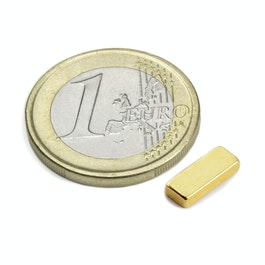 Q-10-04-02-G Block magnet 10 x 4 x 2 mm, neodymium, N50, gold-plated