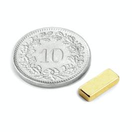 Q-10-04-02-G Parallélépipède magnétique 10 x 4 x 2 mm, néodyme, N50, doré