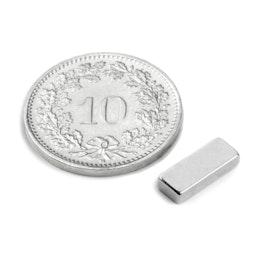 Q-10-04-02-N Parallélépipède magnétique 10 x 4 x 2 mm, néodyme, N50, nickelé