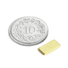 Q-10-05-1.2-G Blokmagneet 10 x 5 x 1.2 mm, neodymium, N50, verguld