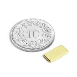 Q-10-05-1.2-G Parallelepipedo magnetico 10 x 5 x 1.2 mm, tiene ca. 800 g, neodimio, N50, dorato