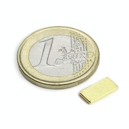 Q-10-05-1.2-G Bloque magnético 10 x 5 x 1,2 mm, sujeta aprox. 800 g, neodimio, N50, dorado