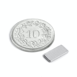 Q-10-05-1.2-N Parallelepipedo magnetico 10 x 5 x 1.2 mm, neodimio, N50, nichelato