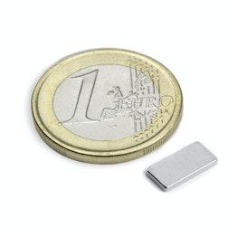 Q-10-05-1.2-N Block magnet 10 x 5 x 1,2 mm, holds approx. 800 g, neodymium, N50, nickel-plated