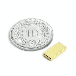 Q-10-05-1.5-G Parallelepipedo magnetico 10 x 5 x 1.5 mm, neodimio, N50, dorato