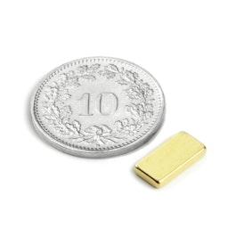 Q-10-05-1.5-G Parallélépipède magnétique 10 x 5 x 1.5 mm, néodyme, N50, doré
