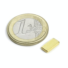 Q-10-05-1.5-G Block magnet 10 x 5 x 1,5 mm, neodymium, N50, gold-plated