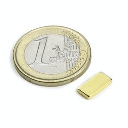 Q-10-05-1.5-G Parallélépipède magnétique 10 x 5 x 1,5 mm, tient env. 980 g, néodyme, N50, doré