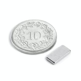 Q-10-05-1.5-N Quadermagnet 10 x 5 x 1.5 mm, Neodym, N50, vernickelt