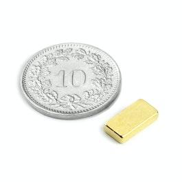 Q-10-05-02-G Parallélépipède magnétique 10 x 5 x 2 mm, néodyme, N50, doré