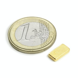 Q-10-05-02-G Block magnet 10 x 5 x 2 mm, neodymium, N50, gold-plated