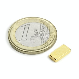 Q-10-05-02-G Block magnet 10 x 5 x 2 mm, holds approx. 1,2 kg, neodymium, N50, gold-plated