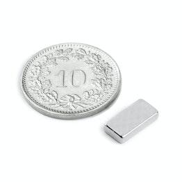 Q-10-05-02-N Block magnet 10 x 5 x 2 mm, neodymium, N50, nickel-plated
