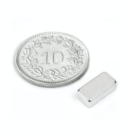 Q-10-05-03-N Parallélépipède magnétique 10 x 5 x 3 mm, tient env. 1.5 kg, néodyme, N45, nickelé