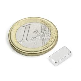 Q-10-05-03-N Parallelepipedo magnetico 10 x 5 x 3 mm, tiene ca. 1,5 kg, neodimio, N45, nichelato