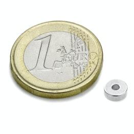 R-06-02-02-N Anello magnetico Ø 6/2 mm, altezza 2 mm, tiene ca. 760 g, neodimio, N45, nichelato