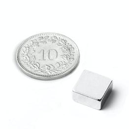 Q-10-10-03-N Blokmagneet 10 x 10 x 3 mm, neodymium, N42, vernikkeld