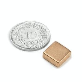 Q-10-10-04-K Parallélépipède magnétique 10 x 10 x 4 mm, néodyme, N40, cuivré