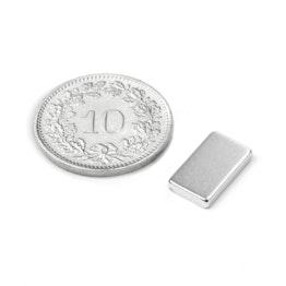 Q-12-07-02-HN Quadermagnet 12 x 7 x 2 mm, Neodym, 44H, vernickelt