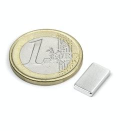 Q-12-07-02-HN Quadermagnet 12 x 7 x 2 mm, hält ca. 1,3 kg, Neodym, 44H, vernickelt