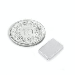 Q-12-08-02-N Blokmagneet 12 x 8 x 2 mm, houdt ca. 1.5 kg, neodymium, N50, vernikkeld