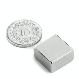 Q-15-15-08-N Block magnet 15 x 15 x 8 mm, neodymium, N42, nickel-plated
