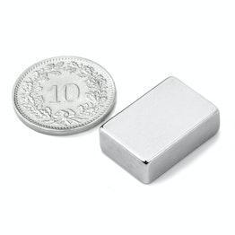Q-19-13-06-N Blokmagneet 19.05 x 12.7 x 6.35 mm, houdt ca. 6.5 kg, neodymium, N42, vernikkeld