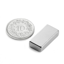Q-20-10-05-N Block magnet 20 x 10 x 5 mm, neodymium, N42, nickel-plated