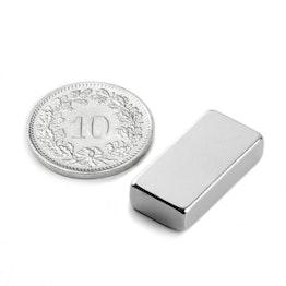 Q-20-10-05-N Blokmagneet 20 x 10 x 5 mm, houdt ca. 3.8 kg, neodymium, N42, vernikkeld