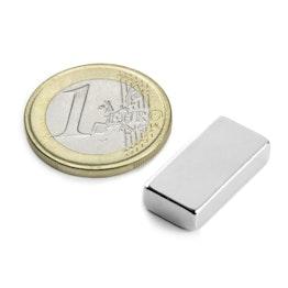 Q-20-10-05-N Parallelepipedo magnetico 20 x 10 x 5 mm, tiene ca. 3,8 kg, neodimio, N42, nichelato