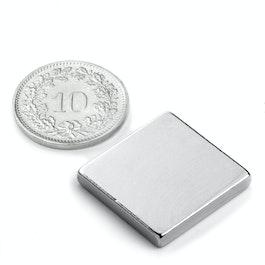 Q-20-20-03-N Parallélépipède magnétique 20 x 20 x 3 mm, néodyme, N45, nickelé