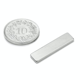 Q-25-06-02-SN Block magnet 25 x 6 x 2 mm, neodymium, 45SH, nickel-plated