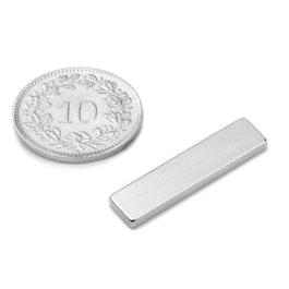 Q-25-06-02-SN Parallelepipedo magnetico 25 x 6 x 2 mm, neodimio, 45SH, nichelato