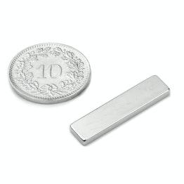 Q-25-06-02-SN Quadermagnet 25 x 6 x 2 mm, hält ca. 1.7 kg, Neodym, 45SH, vernickelt