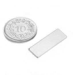 Q-25-08-01-N Block magnet 25 x 8 x 1 mm, neodymium, N48, nickel-plated