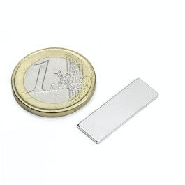 Q-25-08-01-N Blokmagneet 25 x 8 x 1 mm, neodymium, N48, vernikkeld