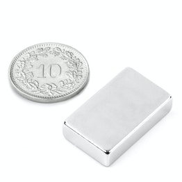 Q-25-15-06-N Block magnet 25 x 15 x 6 mm, neodymium, N45, nickel-plated