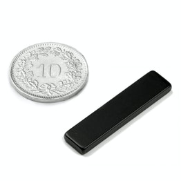 Q-30-07-2.5-HE Block magnet 30 x 7 x 2.5 mm, holds approx. 2.1 kg, neodymium, 38H, epoxy coating