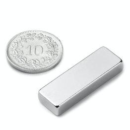 Q-30-10-05-N Parallelepipedo magnetico 30 x 10 x 5 mm, neodimio, N42, nichelato